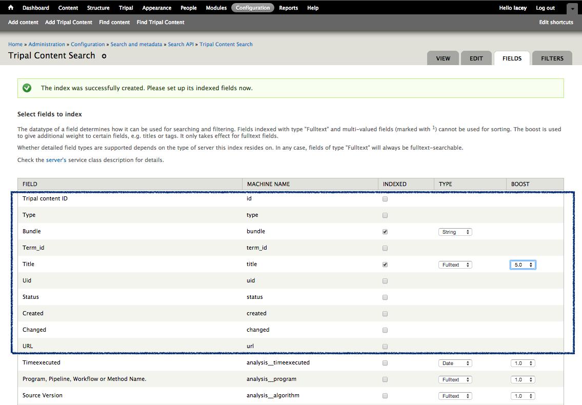 Search API Module: Site-Wide Searching — Tripal 7 x-3 x documentation
